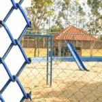 Tela Alambrado Revestido em PVC Azul.